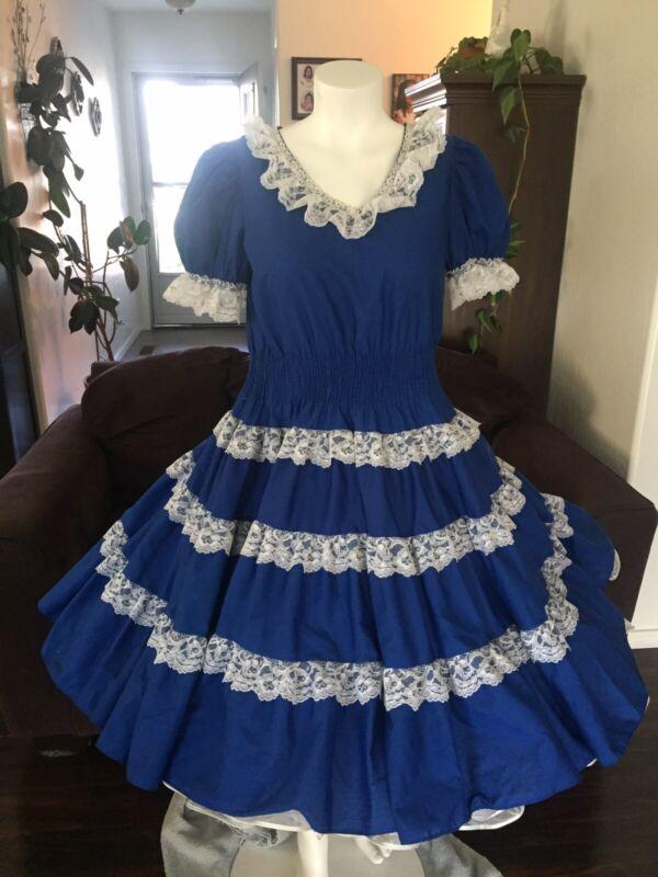 Partners Please Vintage Square Dance Dress Sz 6  Western Blue