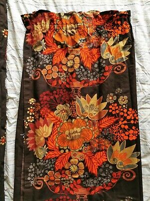 "Brown And orange Floral Retro Vintage fabric  60s/70s Curtains 54"" w X 56"" L X 2"