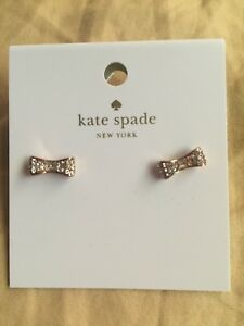 Nwt Kate Spade New York Ready Set Bow Clear Rose Gold Studs Earrings 28