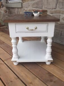 Refinished White End Table with Stained Top