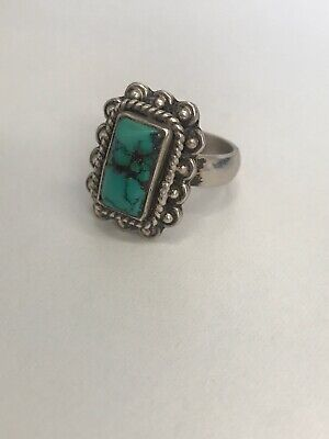 Beautiful Sterling Silver 925 Turquoise Ring Size N O