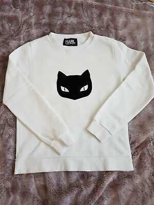 Ladies Karl Lagerfeld White Sweater Jumper With Cat Face Size Small 6-8-10