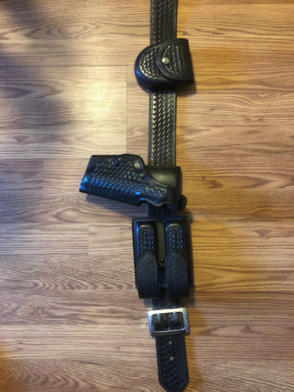 Safariland Duty Belt w/Handcuff 90 7 P-228 P-229 Holster Glock 17 22 Basketweave