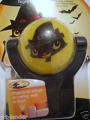 Halloween Cat Night Light (New HALLOWEEN Cute Spooky Black Cat Bats Pumpkins Projectables LED Night Light)
