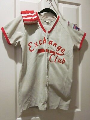 VTG CHILDS BASEBALL UNIFORM SPONSORED EXCHANGE CLUB WITH RED SOCKS & TRIM