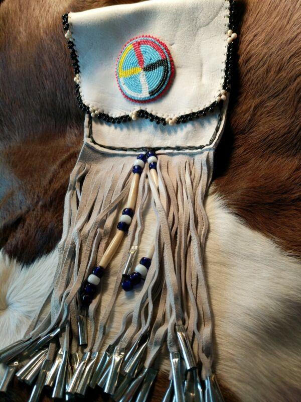 White Buckskin Belt Pouch W/Beadwork