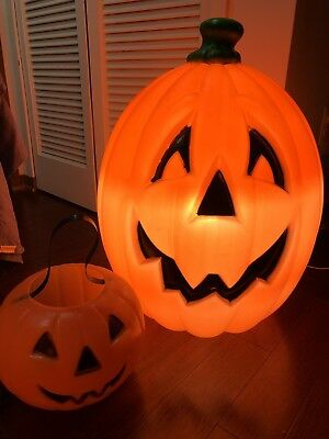 light halloween pumpkin large plastic Vtg Bucket Lot Ghost Witch Lamp Cemetery