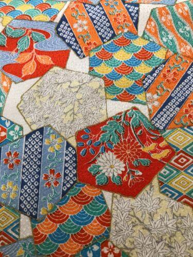 @@156 cm x 35 cm Japanese kimono silk fabric/ smooth weave/ white base A09