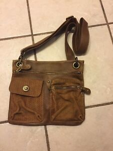 Roots brown leather crossbody purse