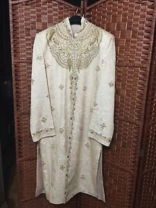 BRAND NEW Men's Raw Silk Shervani With Embroidery!