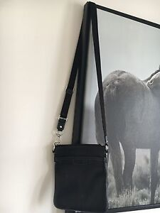 Cute/simple black leather coach purse