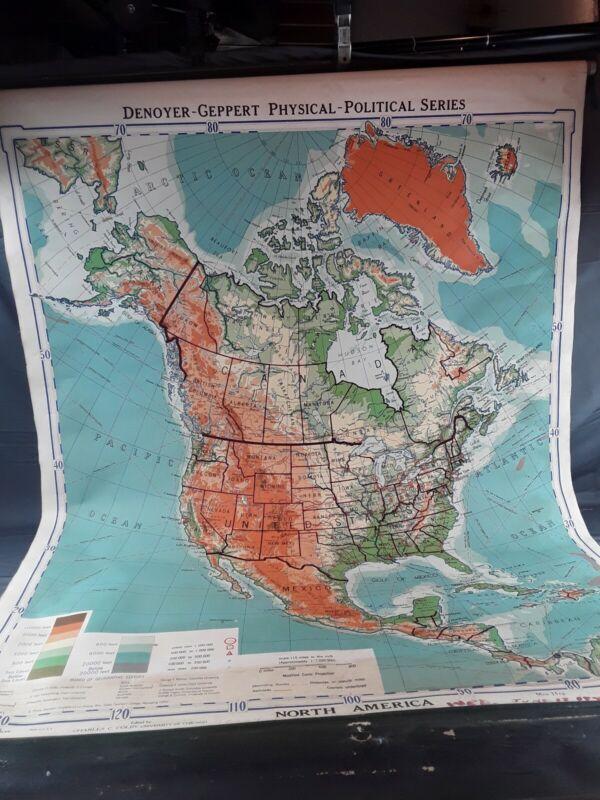 Vtg North America Wall Pull Map Denoyer-Geppert Physical-Political Series ~ 1941