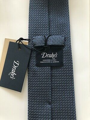 New Drake's London Tie Hand Rolled Grenadine Silk Petrol Blue Rare MUST -