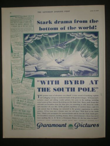 1930 WITH BYRD AT THE SOUTH POLE PARAMOUNT PICTURES MOVIE Trade art print ad