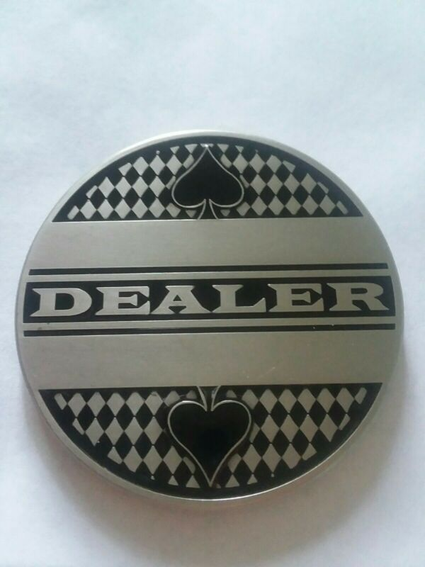 """Delux Poker Dealer Button All Metal Red/Black Enamel chip marker (LARGE 2"""")"""