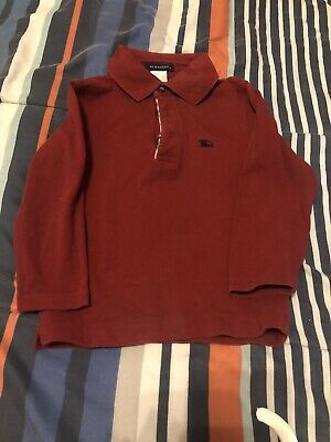 Burberry Boys Children Kids Red/Burgundy Long Sleeve Polo Shirt Sz 4T