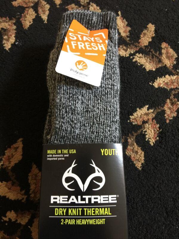 Brand New Realtree Dry Knit Thermal 2-Pair Heavyweight Socks Gray, Youth F/Ship