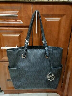 Michael Kors Jet Set MK Signature Logo Tote Black Womens Handbag