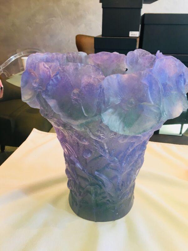 Daum Large Grand Hibiscus Vase