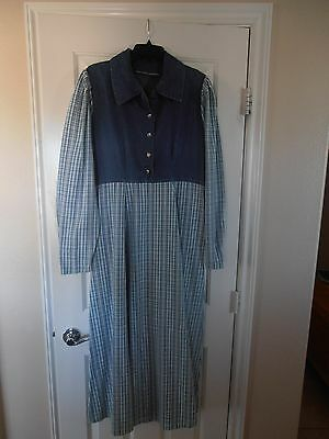 Praire Country Western Plaid Blue Jean Dress for Costume Size approx Large - Country Western Costumes