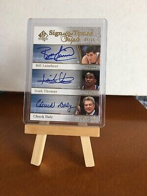 2005-06 Sp Authentic Chuck Daly Isiah Thomas Laimbeer Triple Auto /15 Pistons!