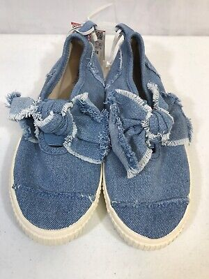 Zara Kids Girls Shoes Size 33/ US 1.5 Brand New With Tags Denim Slip Ons