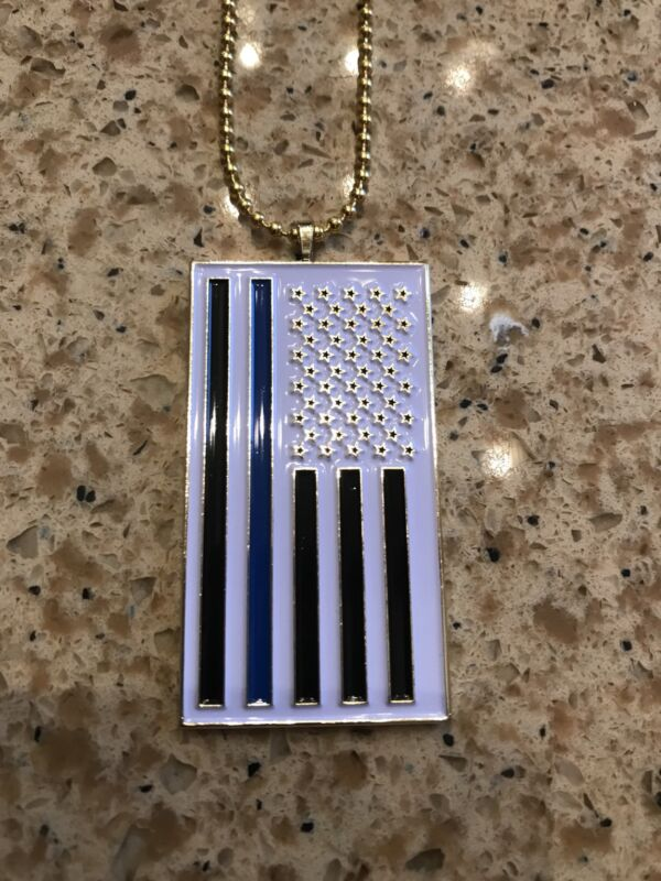 Thin Blue Line Flag Pendant Keychain Necklace Police Tribute US SELLER!