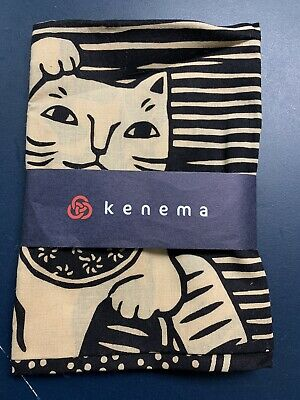 Kenema Tenugui Japanese Hand Towel Imitation Lucky Cat or Auspicious Cat black
