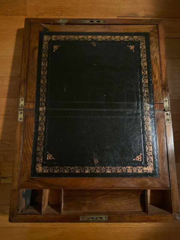 Antique Victorian Lap Desk With Brass Bands/Accents