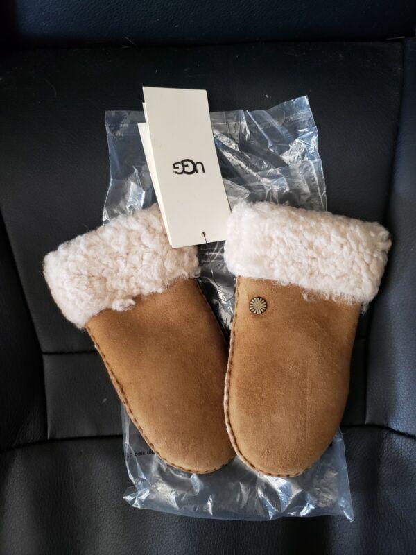 UGG Brown Chestnut Sheepskin Gloves Mittens for Kids SIZE 4 ~ 6 years