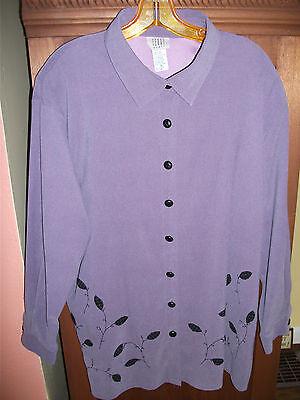 TEDDI Womens 1X Dusty Purple LS Polyester Stretch Tunic Blouse w Black Leaf Trim