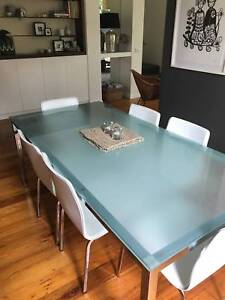 Glass top dining table   6 chairs
