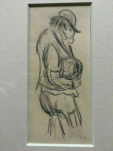 Original Heinrich Zille Drawing Pencil Signed Titled Lumpen-Maxe Kohlezeichnung