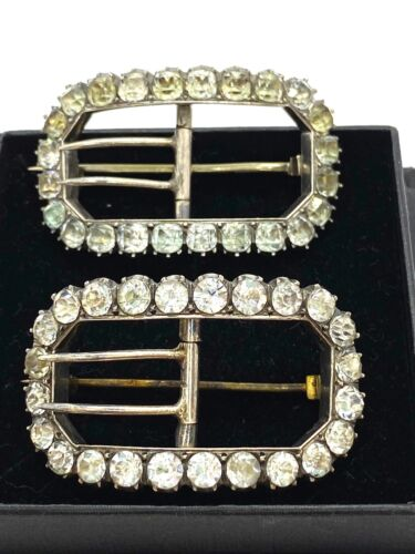 Rare Antique Pair Georgian Sterling Silver Diamond Paste Shoe Buckle Brooches