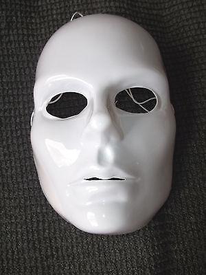 Mardi Gras Mask Adult Woman's Full Face White Blank Artist  Costume Plastic   (Plastic Mardi Gras Masks)
