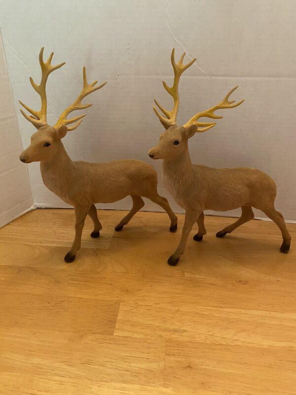 Vintage Flocked Reindeer With Antlers,2