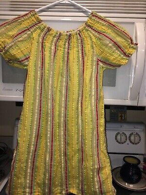 Peek Kids Dress Girls Size XL TG (10) Yellow w/ multi colors Good - Well Dressed Kid