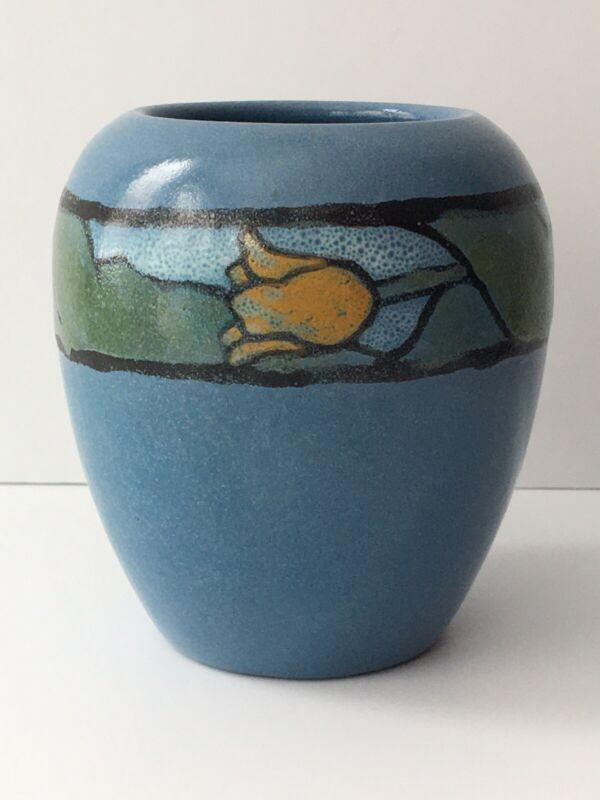 1925 Saturday Evening Girls SEG PRP Pottery Vase Paul Revere Tulips Antique Blue