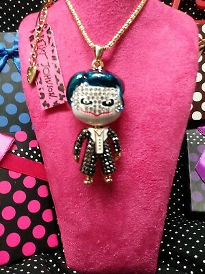 Joker Rhinestone - Betsey Johnson THE JOKER blue slick enamel hair & suit of rhinestones necklace