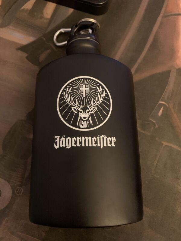 Jagermeister Black Aluminum White Logo Canteen Flask Black Bottle Jager Clip