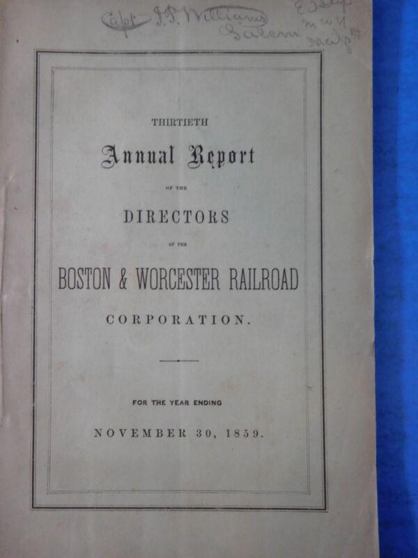 Boston & Worcester Railroad Corporation Annual Report Ending date 1859 November