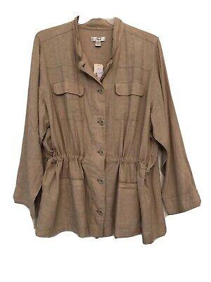 NWT CJ Banks Khaki Tan Shirt Jacket Womens Linen Blend Long Sleeve Plus Size 3X Plus Size Linen Blend Shirt