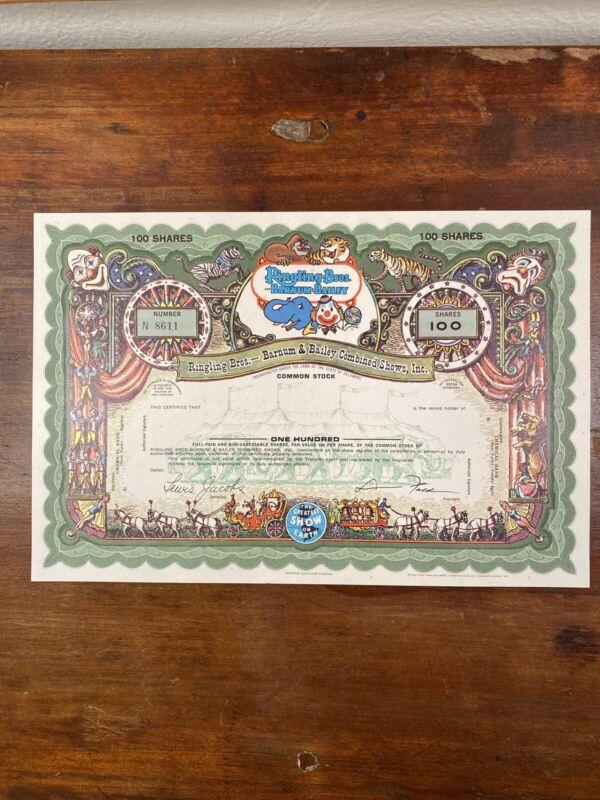 Ringling Bros. and Barnum & Bailey Stock Certificate - SPECIMEN (Green)