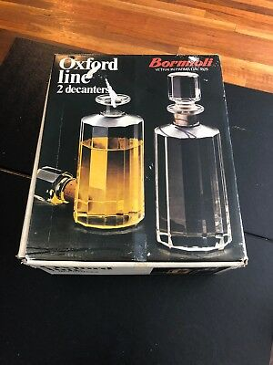 Vtg Oxford Line Lot of 2 Bormioli Glass  Decanter Set, Made In Italy!