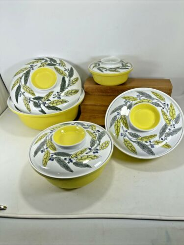 Set of 8pc. MCM Poole Pottery Covered Casseroles England MINT 1960