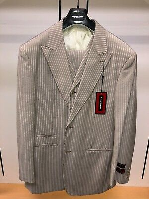 NWT Steve HARVEY 56BL Tan White Fashion Exotic Adams Suit 3PC Pinstripe for sale  Seaford