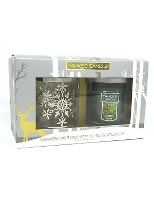 Yankee Candle 7oz Balsam & Cedar Tumbler Candle w/ Metal Jar Sleeve Gift Box Set