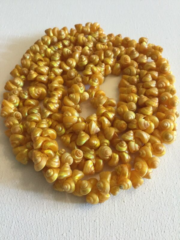 VINTAGE HAWAIIAN SOUTH PACIFIC YELLOW SHELL LEI NECKLACE