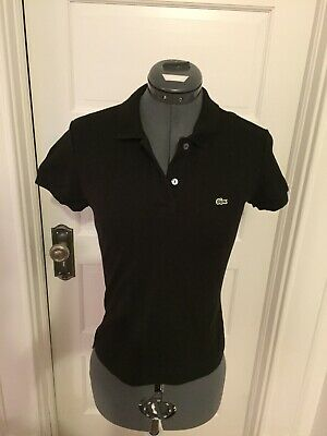 LACOSTE Women's Short Sleeve Polo Shirt SIZE 38 Small Black EUC