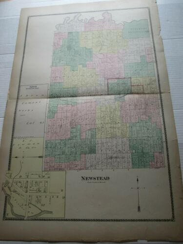 """(1) 1880 ANTIQUE MAP, """" NEWSTEAD"""", ERIE COUNTY ATLAS, NY,  F W BEERS"""